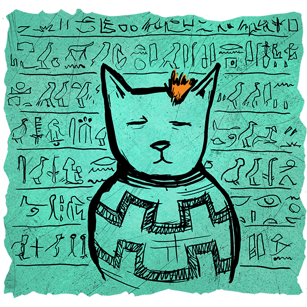 A drawing of how ancient Egyptian culture depicted cats.