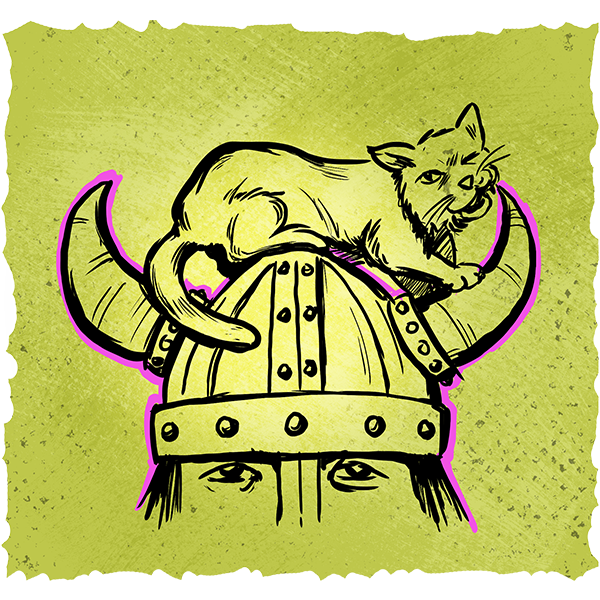 A drawing of a cat sitting on the headwear of a viking.