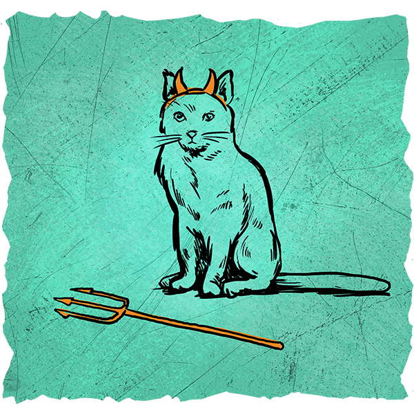 An evil cat drawn with horns and a trident.